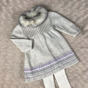 Janie and Jack Faux Fur Collar Sweater Dress Gray